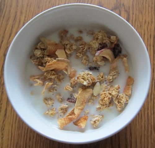 granola with milk
