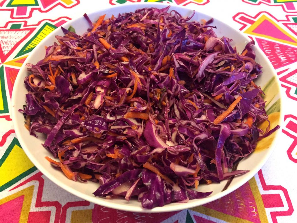 Red Cabbage Coleslaw With Oil And Vinegar Dressing