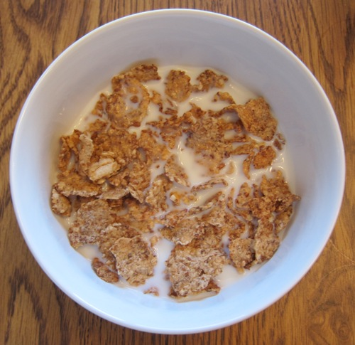 crunchy cereal and milk in a bowl