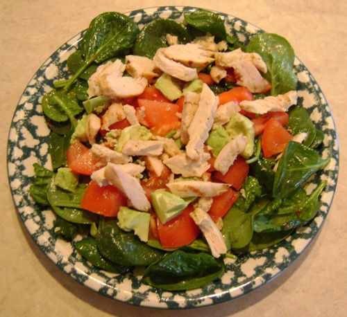 Main dish salad recipe with chicken avocado and baby spinach chicken avocado tomato baby spinach main dish salad recipe forumfinder Images