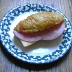 salami and cheese sandwich on a croissant picture