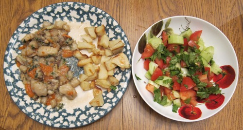 dinner idea - scallops with potatoes and salad