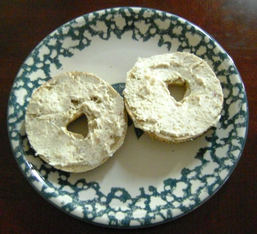 bagel with the honey almond cream cheese