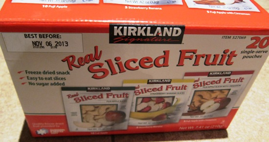 kirkland freeze dried fruit snacks Costco box
