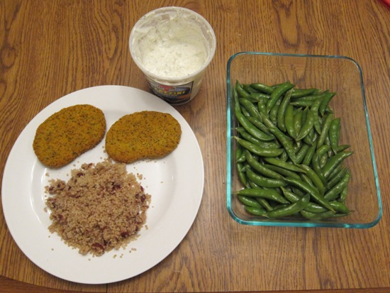 dinner veggie patties quinoa tzatziki snow peas