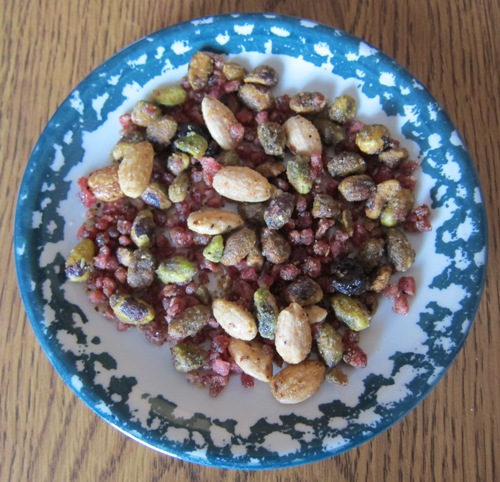 pomegranate pistachios from costco in a bowl