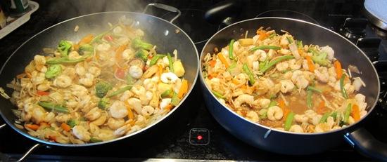 shrimp and veggie stir fry in 2 frying pans