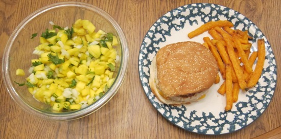turkey cheeseburger with sweet potato fries and mango salsa dinner