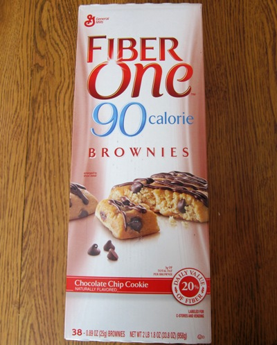 fiber one chocolate chip cookie brownie Costco package