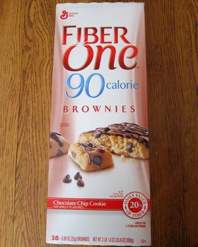 fiber one chocolate chip cookie brownie Costco package