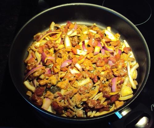 beef stir fry in a frying pan