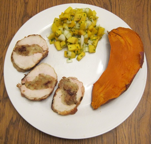 stuffed chicken breast with sweet potato and mango salsa