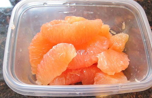 prepared peeled grapefruit in a bowl