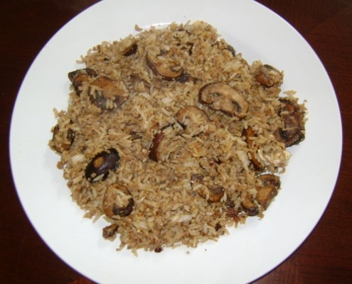 how to make rice recipe with ground meat and mushrooms