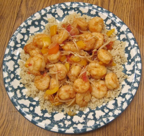 shrimp over quinoa