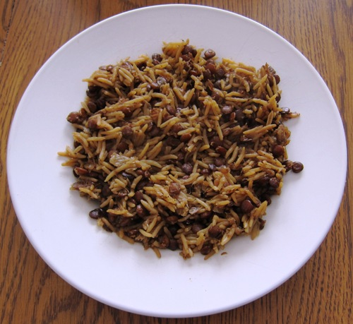 rice and lentil pilaf mujadara on a plate