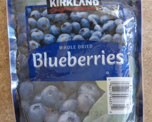 costco kirkland dried blueberries package