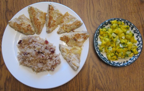 ocean perch quinoa mango salsa dinner