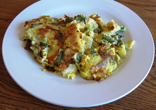 how to make omelette recipe with potato asparagus cheese