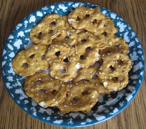 pretzel chips on a plate