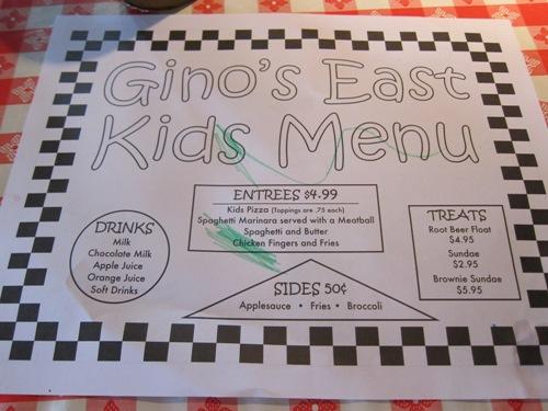 Gino's East kids menu