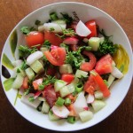 radish salad with tomatoes cucumbers parsley
