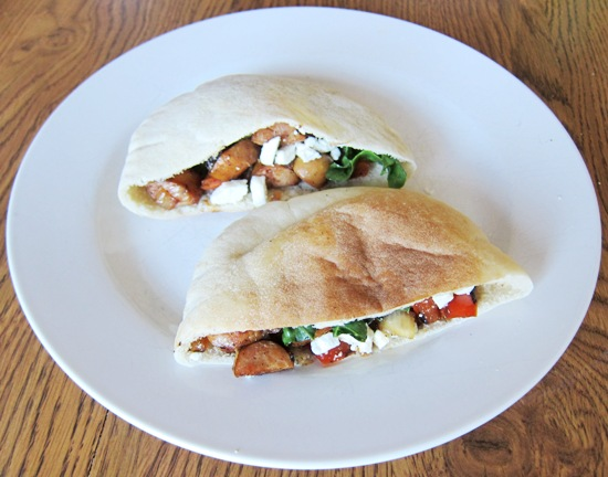 stuffed pita pockets with sausage peppers feta
