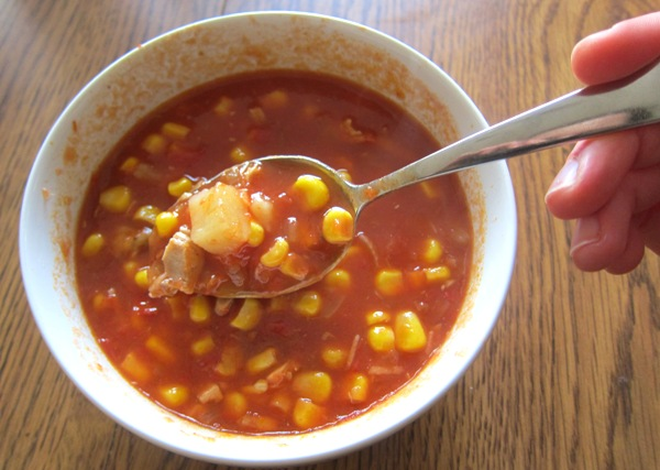 corn and tomato soup with chicken