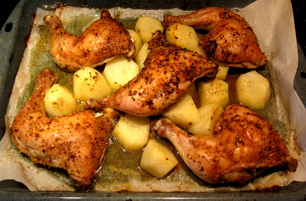 Spiced Roasted Chicken Legs And Thighs With Potatoes Melanie Cooks