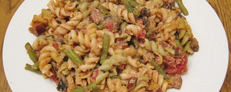 rotini pasta with sausage and green beans easy recipe