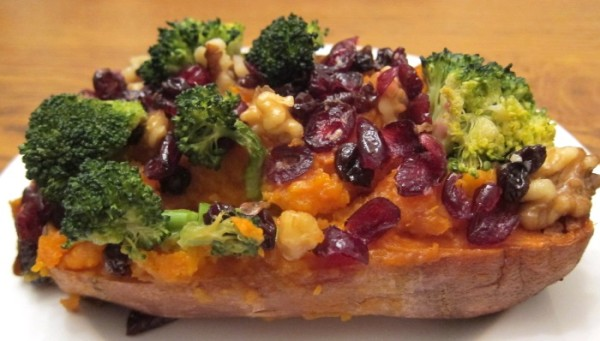 baked stuffed sweet potato with broccoli cranberries walnuts
