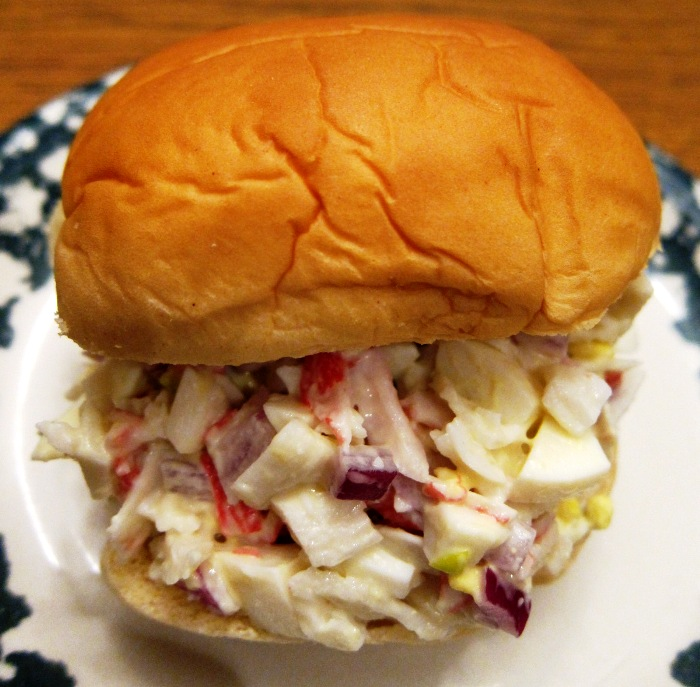 Crab Salad Sandwich - easy recipe using imitation crab meat
