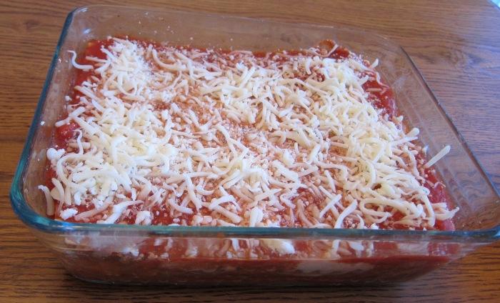 freezing lasagna in a baking dish