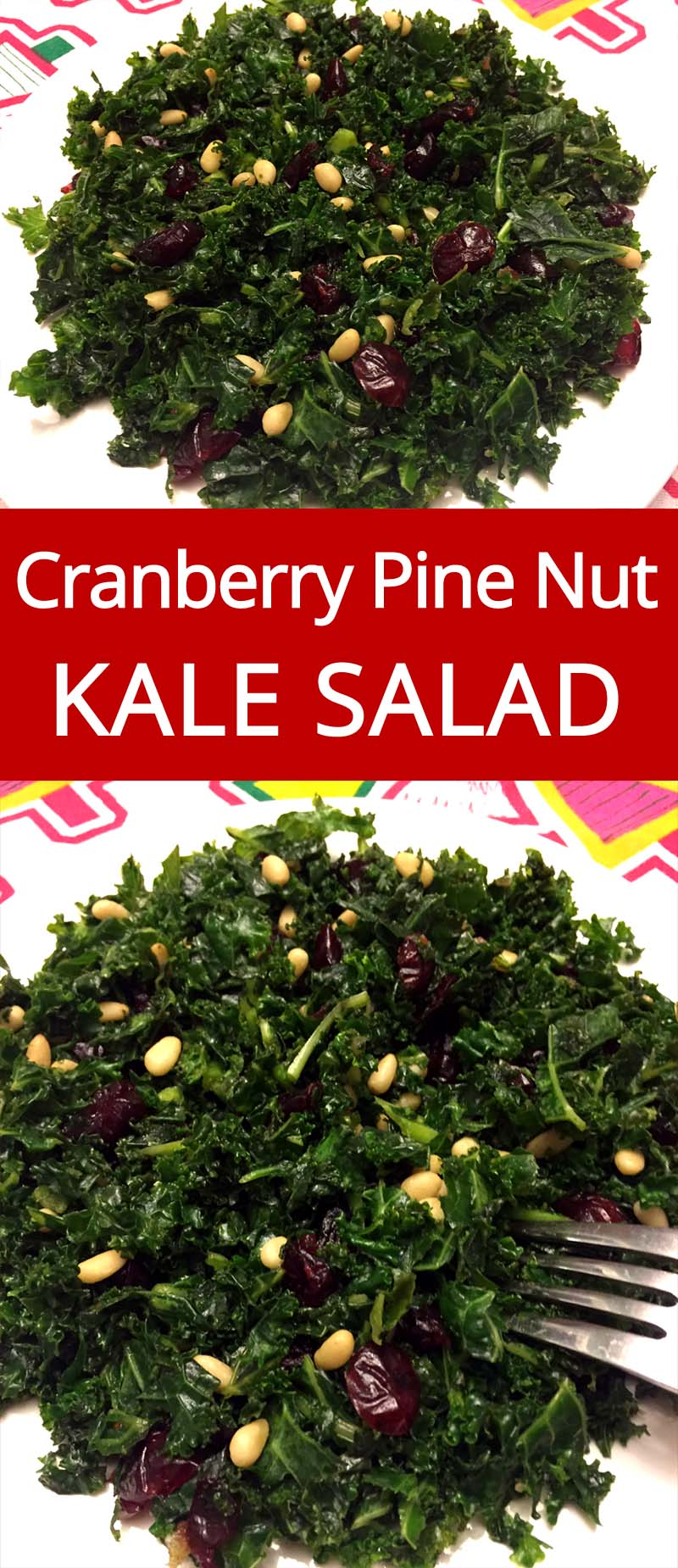Kale Salad Recipe With Cranberries And Pine Nuts - what a great way to eat more kale! Easy and yummy! | MelanieCooks.com