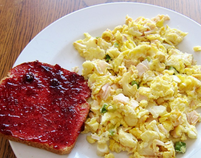 Scrambled Eggs And Toast With Jam