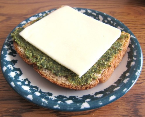 toast with pesto and cheese