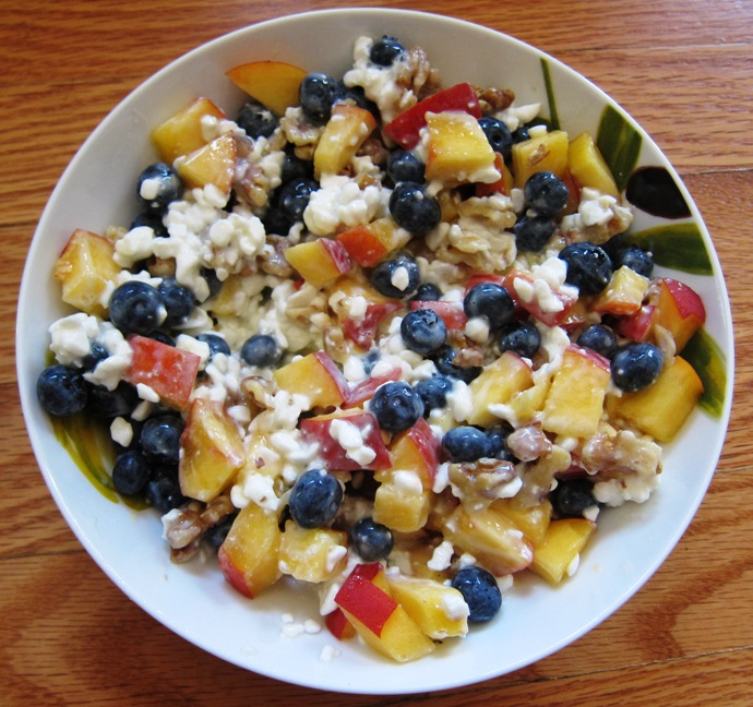 Groovy Cottage Cheese With Blueberries Peach And Walnuts Download Free Architecture Designs Scobabritishbridgeorg