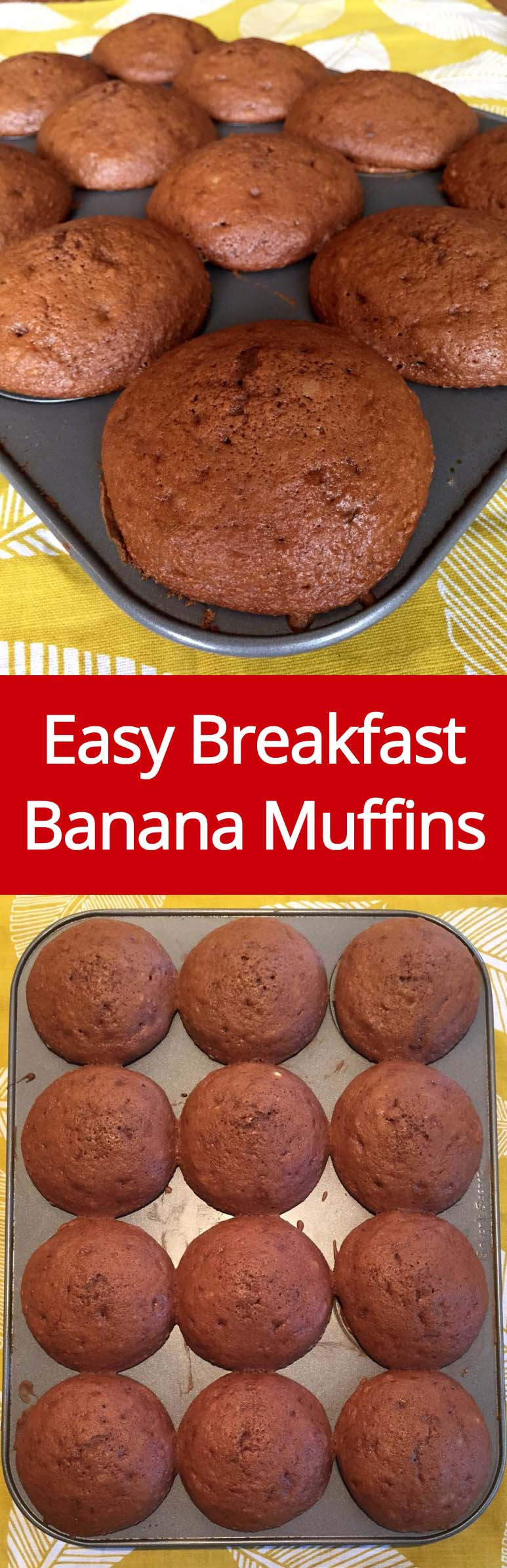 Easy Banana Muffins - these huge muffins are like banana bread in a muffin form! Perfect for breakfast!
