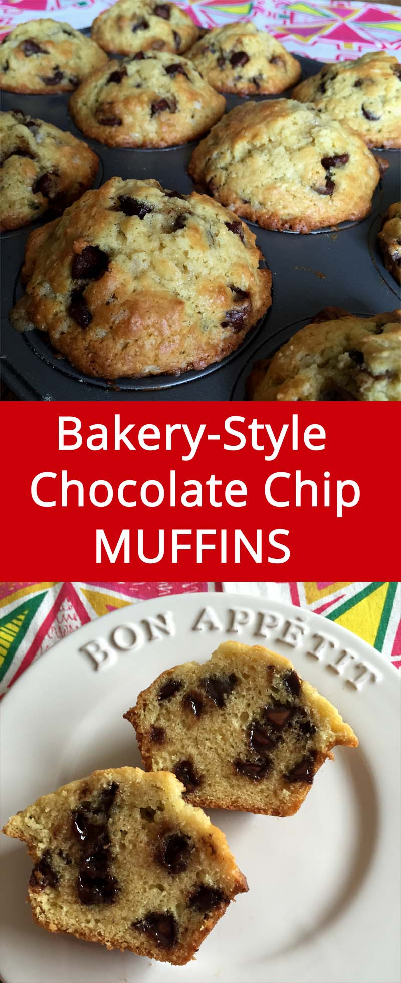 Bakery-Style Homemade Chocolate Chip Muffins Recipe | MelanieCooks.com