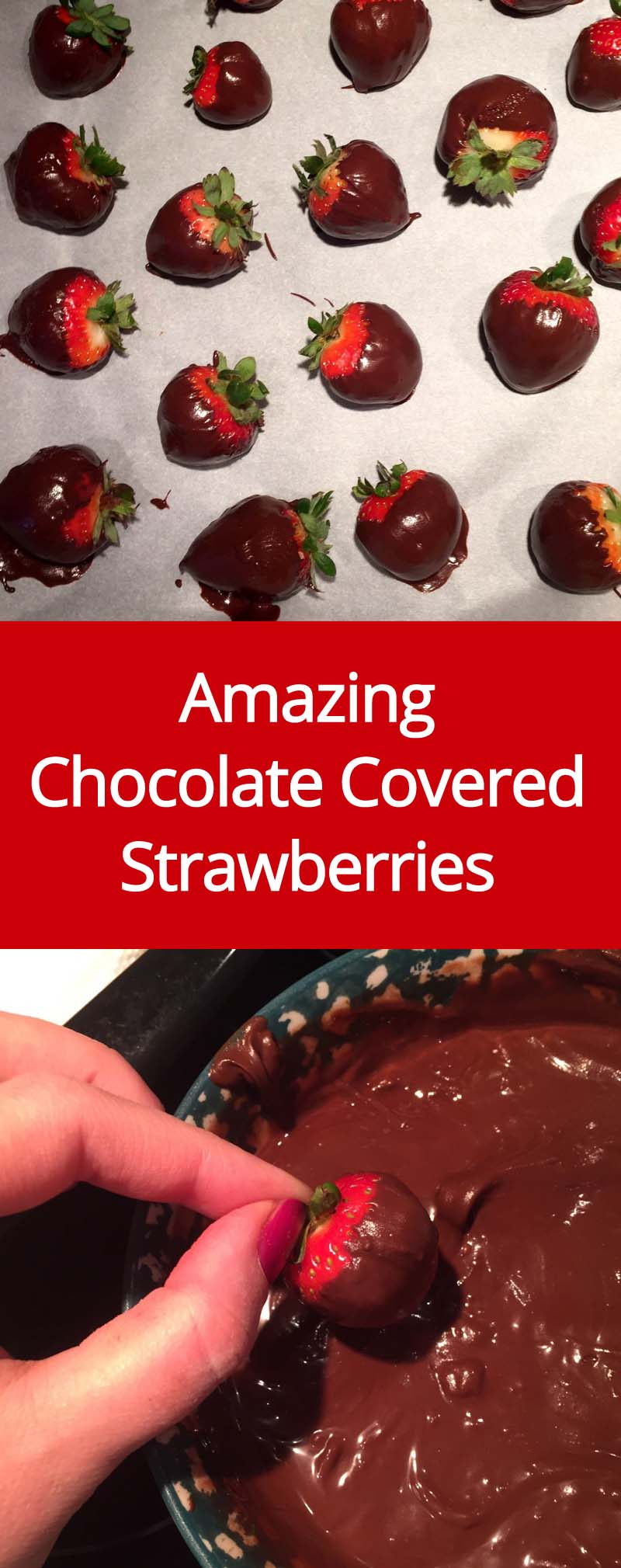 These chocolate covered strawberries are so easy to make and taste amazing! I love homemade chocolate dipped strawberries! Perfect for Valentine's day!