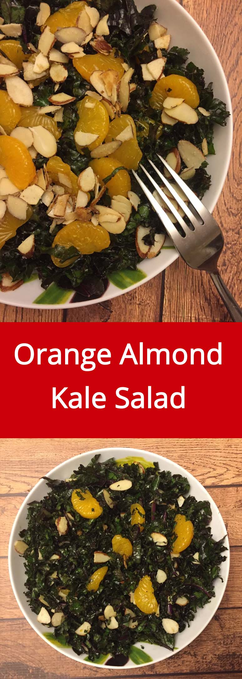 Kale Salad With Oranges And Slivered Almonds - yum! What a great way to eat more kale! | MelanieCooks.com