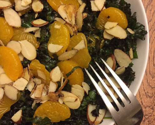 How To Make Red Kale Salad With Orange Slices And Almonds