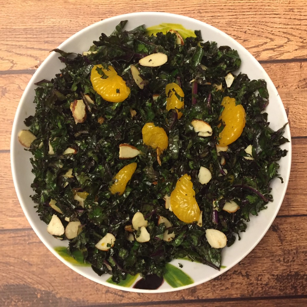 Red Kale Salad Recipe With Orange Slices And Almonds