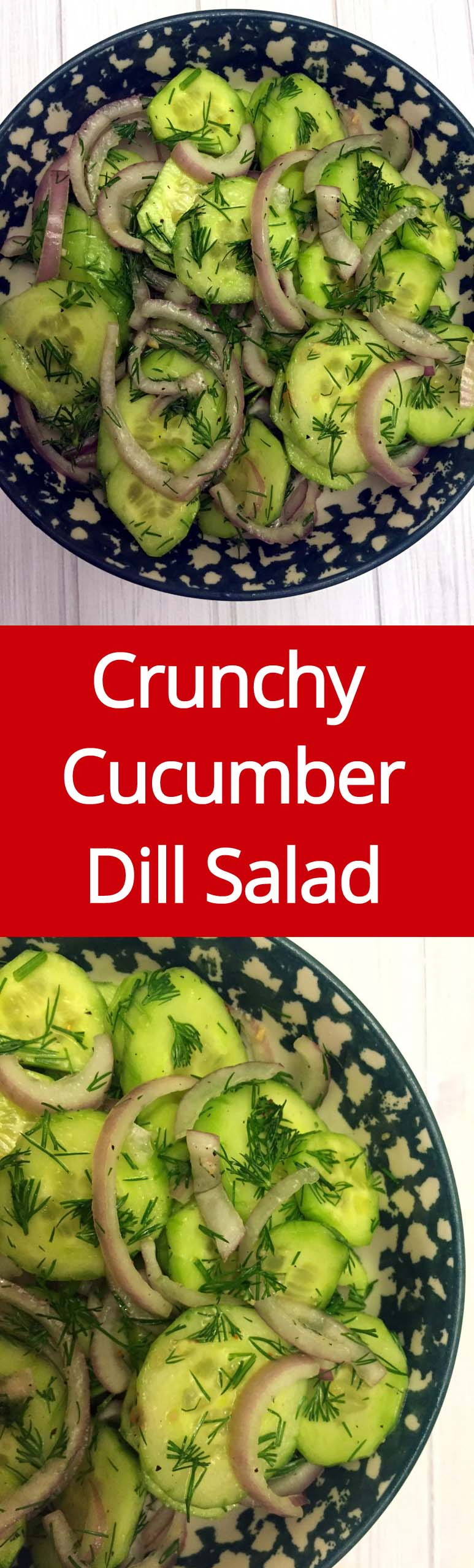 Easy Crunchy Cucumber Dill Salad Recipe With Red Onions | MelanieCooks.com