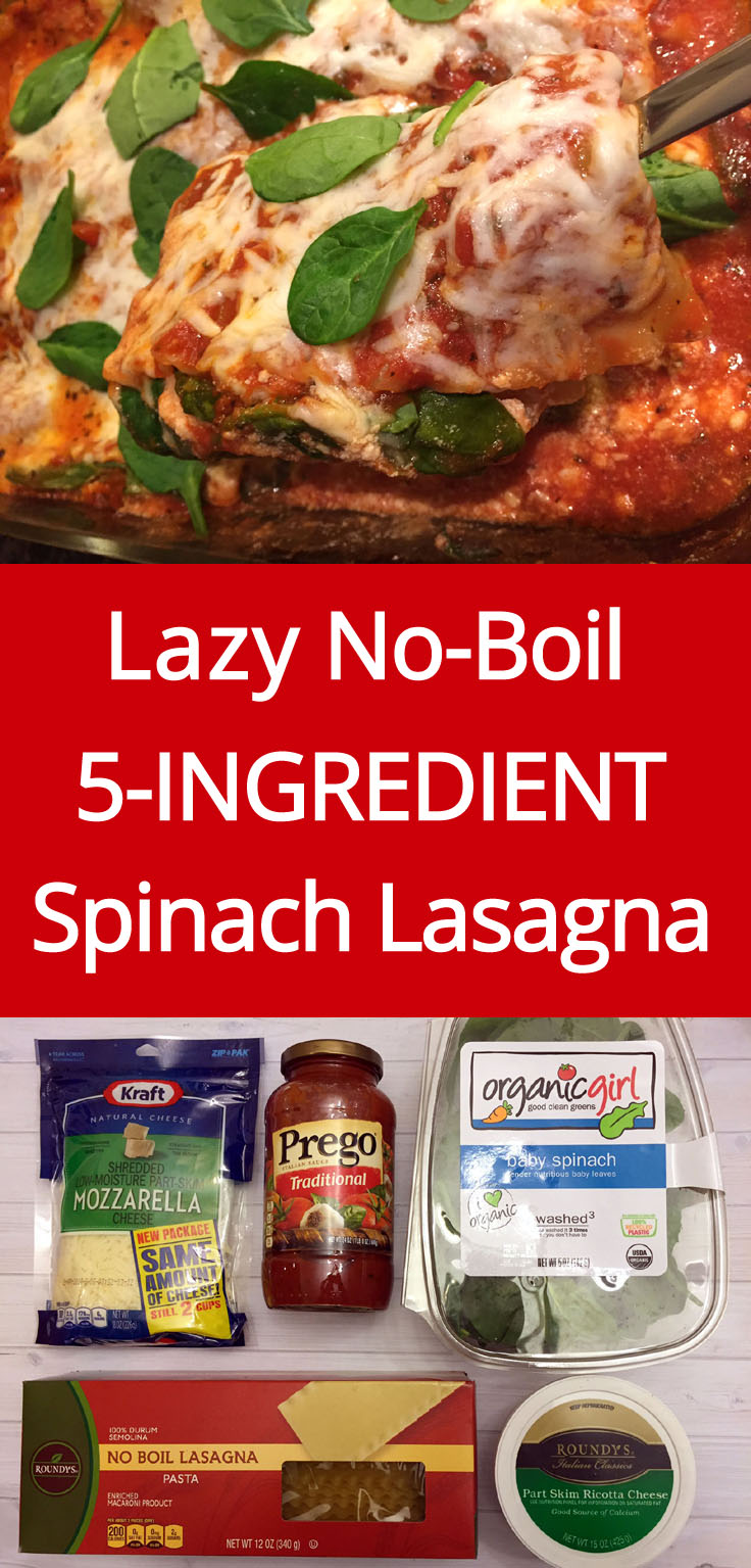 Easy 5-Ingredient No-Boil Spinach Vegetarian Lasagna Recipe | MelanieCooks.com