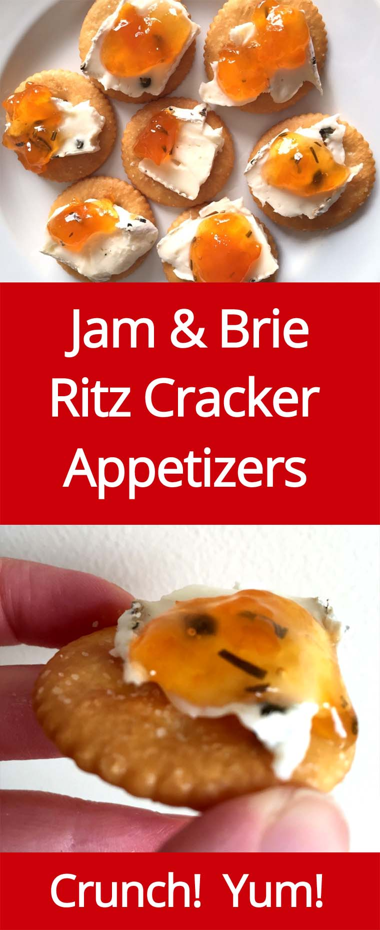 Jam & Brie Cheese On Ritz Crackers - Amazing Appetizer | MelanieCooks.com
