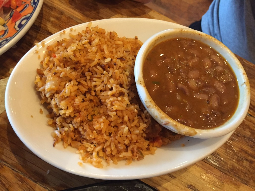 Mexican rice and baked beans
