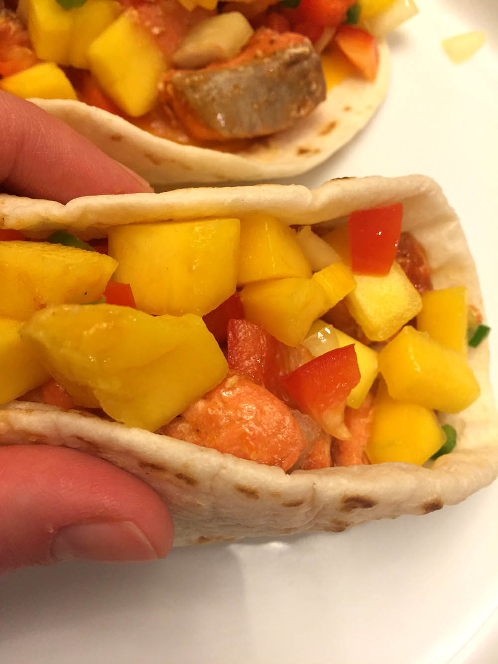 Easy fish tacos recipe with mango salsa melanie cooks for Simple fish taco recipe