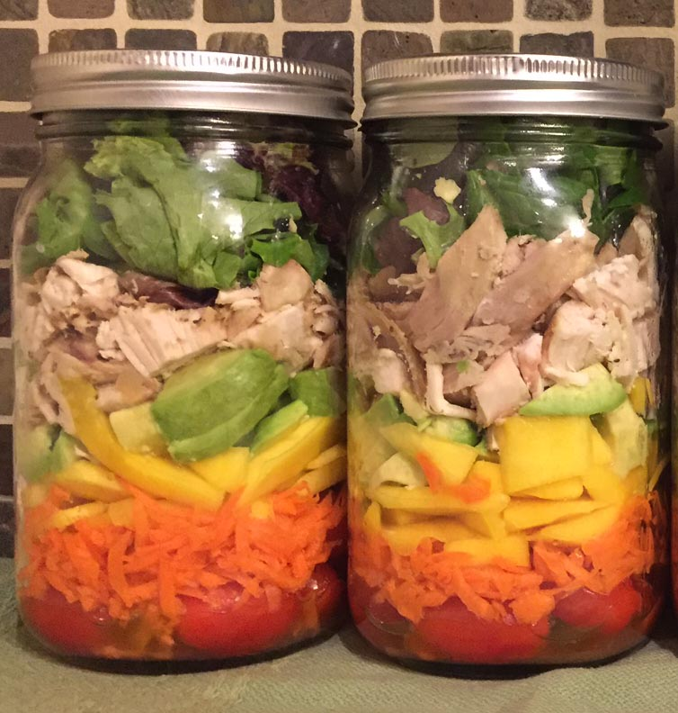 Mason Jar Salad Recipe - Chicken Mango Salad In A Jar - Amazing!