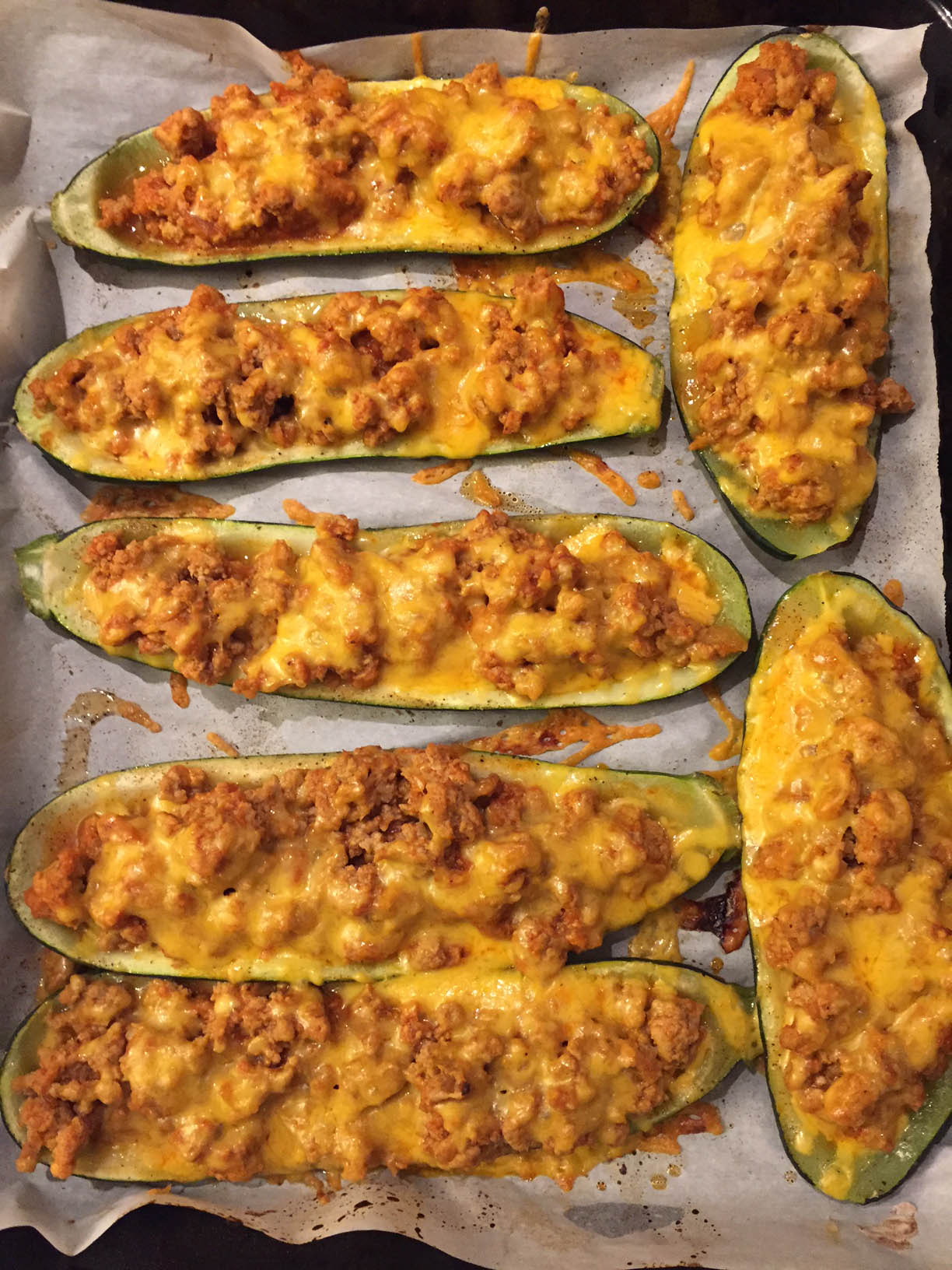 Stuffed Baked Zucchini Boats With Ground Meat And Cheese